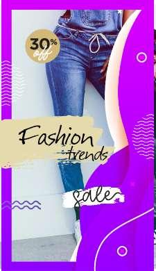 Фиолетовая модная история распродажи с фотографией стройной девушки