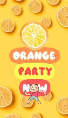История оранжевой вечеринки с текстом и анимациями