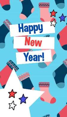Классная сторис с Новым годом с носками и стикерами на бирюзовом фоне